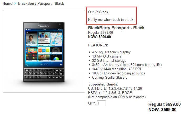 The BlackBerry Passport is sold out once again - BlackBerry once again is sold out of the BlackBerry Passport