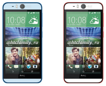 Blue and red versions of the HTC Desire EYE