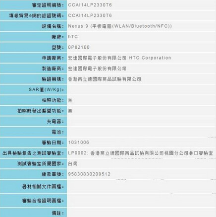 HTC Nexus 9 visits the Taiwan equivalent of the FCC - HTC Nexus 9 tablet confirmed by Taiwan regulators