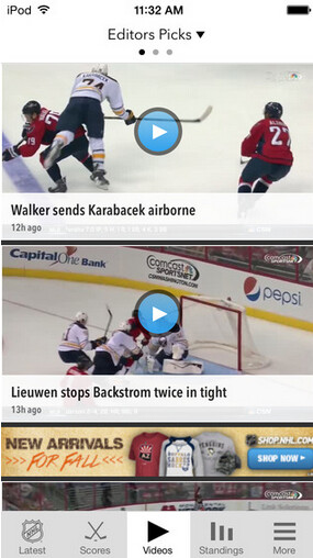Screenshots from NHL GameCenter - As the puck drops on the new season, NHL GameCenter is updated for iOS and Android