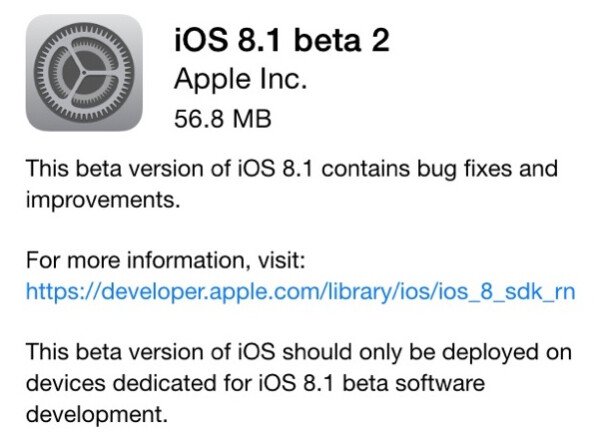 Apple sends out iOS 8.1 beta 2 to registered developers - Registered Developers receive iOS 8.1 beta 2