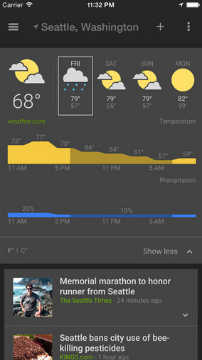 Screenshots from Google News and Weather for iOS - Google News and Weather now available for iOS