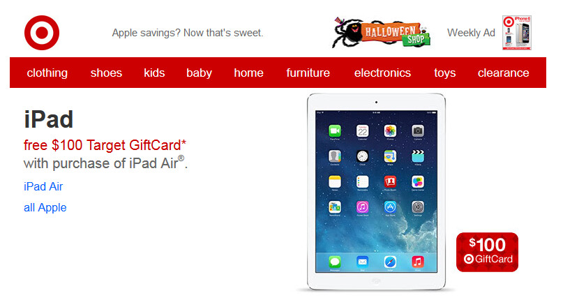 Get a $100 Target gift card with your purchase of an Apple iPad Air from Target - Target gives $100 gift card to those who purchase the Apple iPad Air