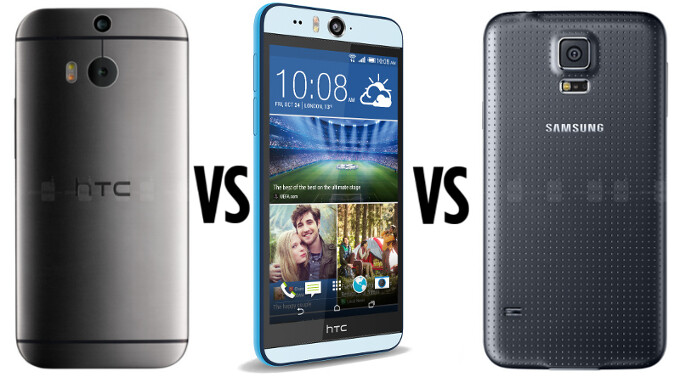 First camera samples from the HTC Desire EYE get compared with the HTC One (M8) and the Samsung Galaxy S5