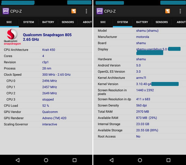 Nexus 6 runs through the CPU-Z benchmark test - Motorola Shamu aka Nexus 6 appears on another benchmark site; screen size is questioned (no longer)