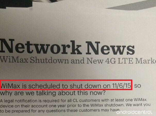 Leaked internal document is confirmed and WiMAX will close on November 6th - Sprint to close WiMAX for good on November 6th, 2015