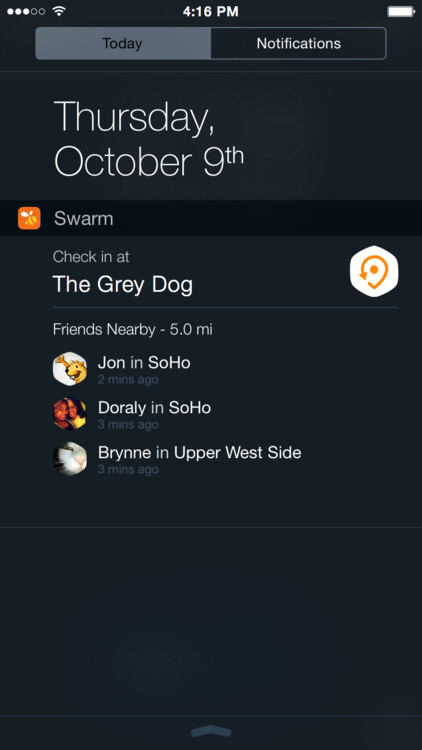 Foursquare's Swarm gets a check-in widget for iOS before one for Android