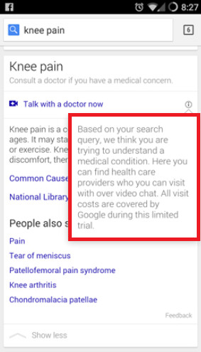 Google is testing a feature that lets you chat with a Doc when you search for symptoms