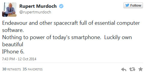 Billionaire Murdoch tweets his love for the Apple iPhone 6 - This billionaire is an Apple iPhone 6 fan