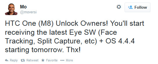 Tweet from HTC executive Mo Versi reveals Eye Experience update for unlocked U.S. models of the HTC One (M8) for tomorrow - U.S. unlocked HTC One (M8) to get Eye Experience update on Tuesday