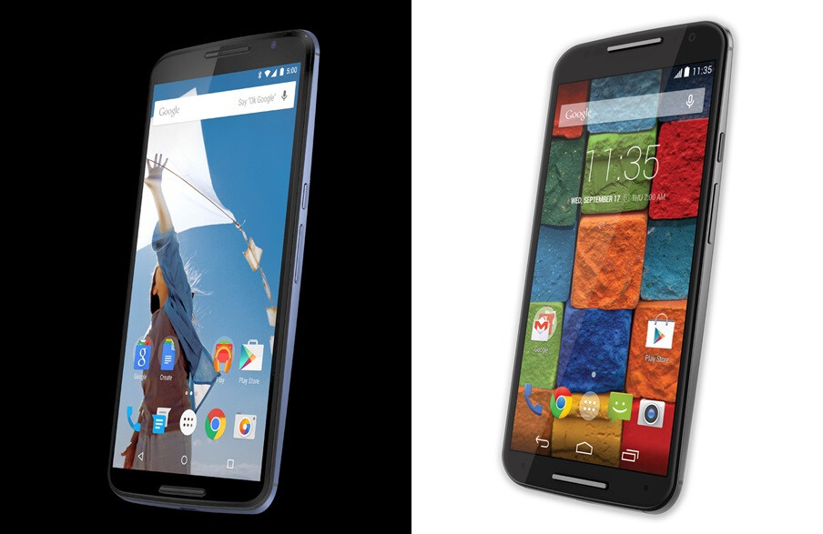 Nexus 6 render (on the left) vs official 2014 Moto X image (on the right) - Alleged press render for Nexus 6 leaks out, looks a lot like Moto X (2014)