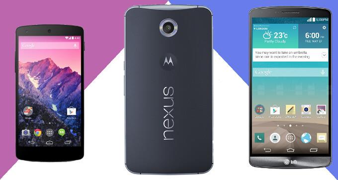 Google Nexus 6 vs Google Nexus 5 vs LG G3: specs comparison battle