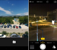Android Lollipop camera - Left, iOS 8 camera - right