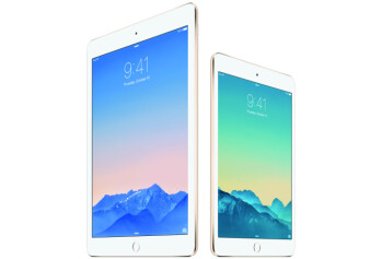 Apple's iPad Air 2 (on the left) and iPad mini 3 (on the right)