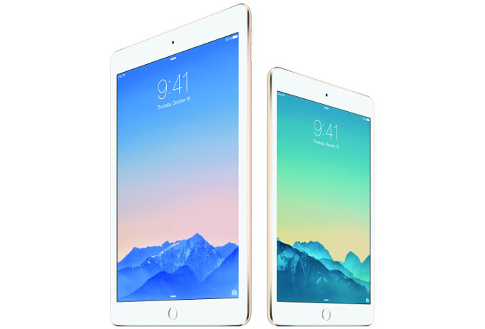 Apple's iPad Air 2 (on the left) and iPad mini 3 (on the right) - Apple 2014 iPad event round-up: all you need to know about iPad Air 2 and iPad mini 3