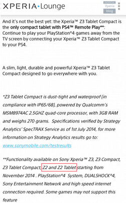 Sony mistakenly reveals its launch plans for the PS4 Remote Play - PS4 Remote Play is coming to the Sony Xperia Z2 and Sony Xperia Z2 Tablet