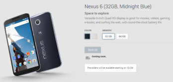 Pre-orders for Nexus 6 to officially begin October 29