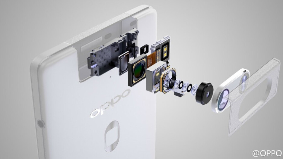 Detailed breakdown of the unorthodox camera module on the Oppo N3 appears