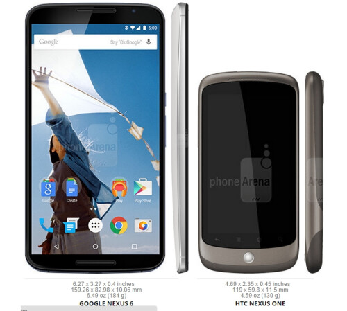 And - finally - here we have the tiny, 3.7-inch Nexus One. We can confidently say that the Nexus line has grown both literally and figuratively since the first model!