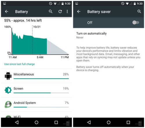 Battery saving features