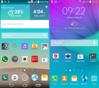 LG G3 on the left, Galaxy Note on the right