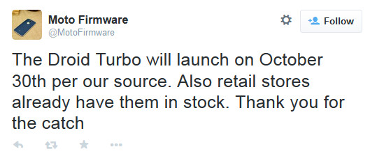 Tweet reveals more information about the Motorola DROID Turbo - Motorola DROID Turbo to be unveiled this Tuesday, launch Thursday?