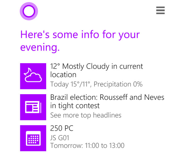 Cortana now provides evening reminders - Cortana puts in a full day in the U.K., starts giving out evening reminders