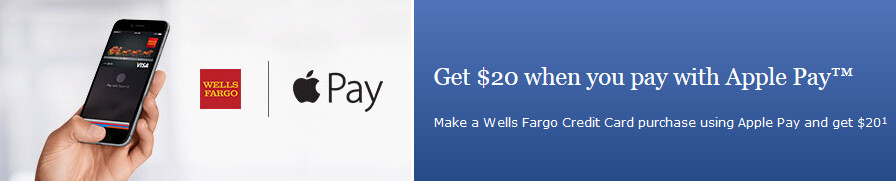 Earn a $20 statement credit by using Apple Pay with your Wells Fargo credit card - Wells Fargo will give you a $20 statement credit to try Apple Pay
