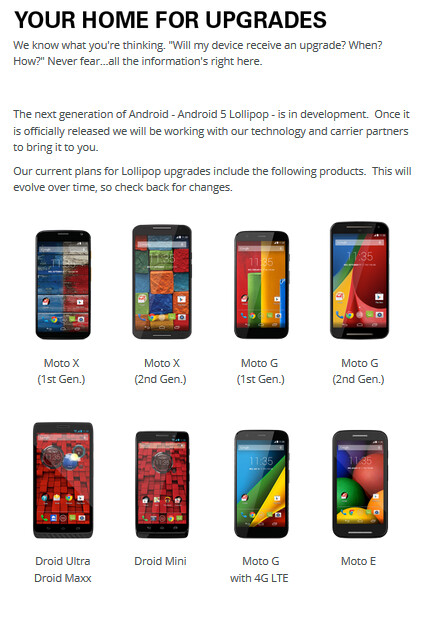 Motorola reveals which models will be getting Android 5.0 - Motorola posts guide to show which models will receive Android 5.0