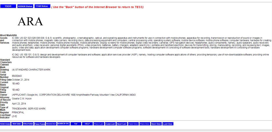 """Google files in a trademark application for """"ARA"""" with the USPTO"""