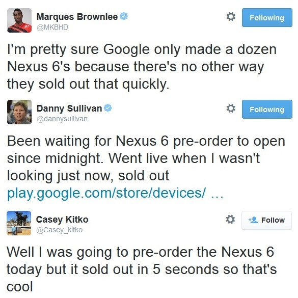 And just like that, it's gone. - Tried to order a Nexus 6 and failed?  You're not alone