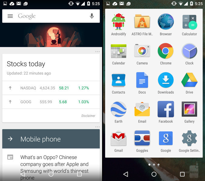 Google Now and Android's app drawer