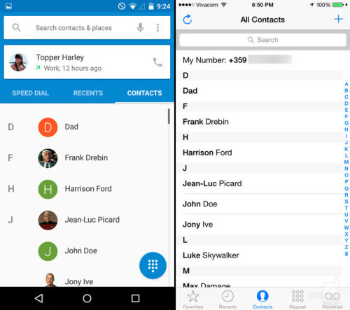 Phone app and phonebook