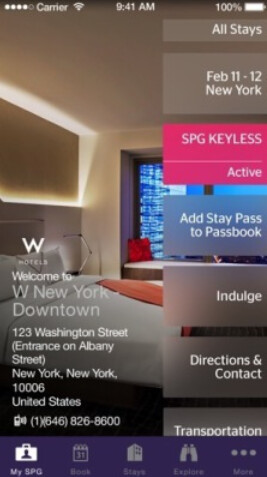 Screenshots from the Starwood Preferred Guest app - Your smartphone is your hotel room key at 10 Starwood properties