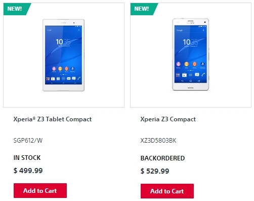 Sony Xperia Z3 Tablet Compact now in stock in the US, Z3 Compact backordered