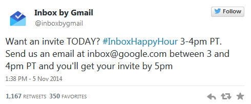 Ask for your invitation to Inbox by 7pm EST and receive it by 8pm - Request your invite to Gmail's Inbox app by 7pm EST today and receive it by 8PM