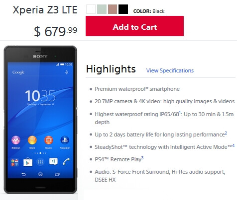 Unlocked Sony Xperia Z3 available to order in the US from