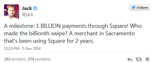 Square gets its one billionth credit card transaction - One billion is a 'Square' number