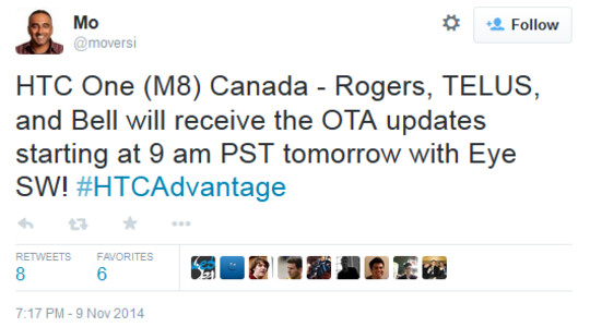 Eye Experience update is coming tomorrow to HTC One (M8) owners in Canada - Canadian HTC One (M8) owners start receiving Eye Experience update today at noon