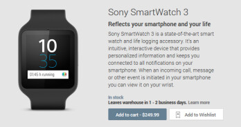 The Sony SmartWatch 3 is now available from the Google Play Store