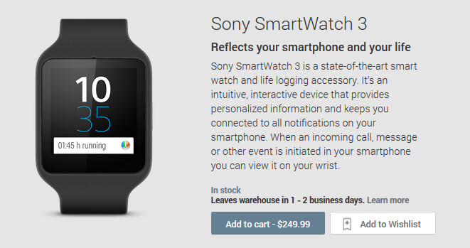 The Sony SmartWatch 3 is now available from the Google Play Store - Sony SmartWatch 3 in stock at the Google Play Store