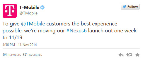 T-Mobile delays its Nexus 6 launch by one week - T-Mobile delays launch of Nexus 6 by one week