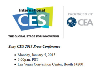 Sony will hold a press conference at CES on January 5th