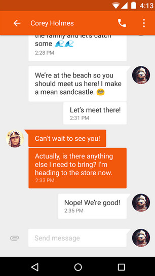 Screenshots from Messenger - Messenger app for Android released by Google