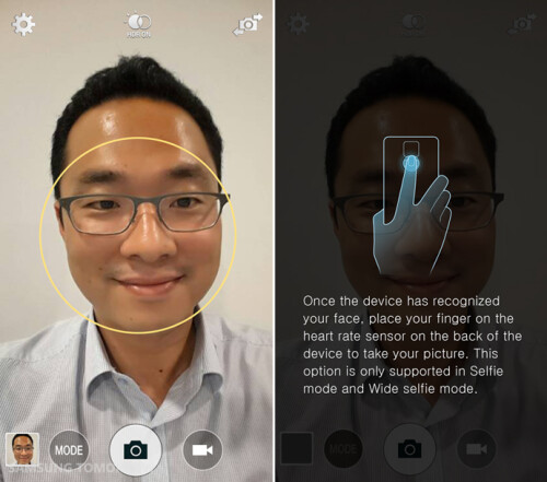Sharp, non-blurry selfies with a tap on the heart rate monitor