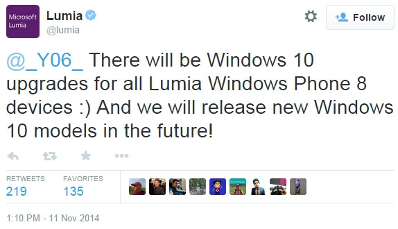 Microsoft: all Lumias running Windows Phone 8 will be updated to Windows 10