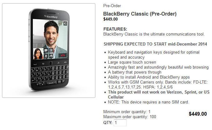Pre-order the BlackBerry Classic right now - Pre-orders are now being accepted for the BlackBerry Classic
