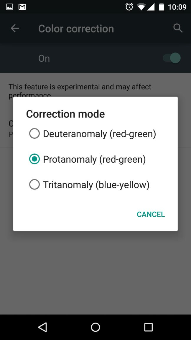 Built-in color correction