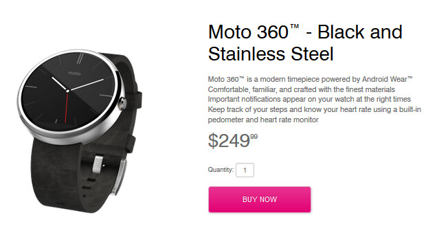 Motorola Moto 360 is now on sale from T-Mobile's website - Motorola Moto 360 now on sale from T-Mobile's website; wearable in carrier's stores November 19th