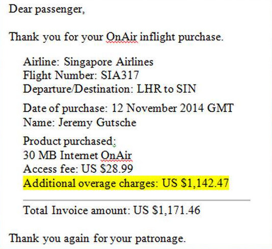 Passenger is presented with a huge Wi-Fi bill from Singapore Airlines flight - Passenger on Singapore Airlines flight is presented with $1171.46 bill for Wi-Fi service